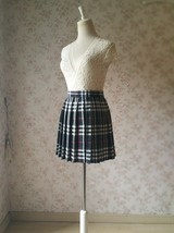 Girl BLACK and WHITE Plaid Skirt School Pleated Plaid Skirts Plus Size wt32 image 2