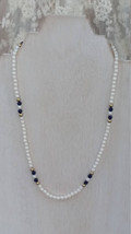 Avon Faux Pearls with Navy and Gold Bead 17 1/2 Inch Necklace - Vintage, 1970s - $6.25