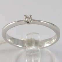 BAGUE EN OR BLANC 750 18K, SOLITAIRE AVEC DIAMANT, CT 0.05, MADE IN ITALY image 1