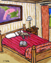 animal Art oil painting printed on canvas home decor cat sleeping signed - $14.99+