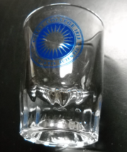 Colby College Shot Glass Double Size Clear Glass Heavy Base Blue Starbur... - $7.99