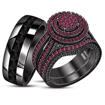 Trio Engagement Ring Set Round Cut Pink Sapphire Black Gold Finish 925 Silver - $120.00