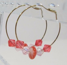 handmade gold hoop earrings with red and pink beads - $9.00