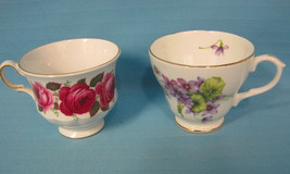 2 Tea Cups Queen Anne Roses & Duchess Violets E... - $24.95
