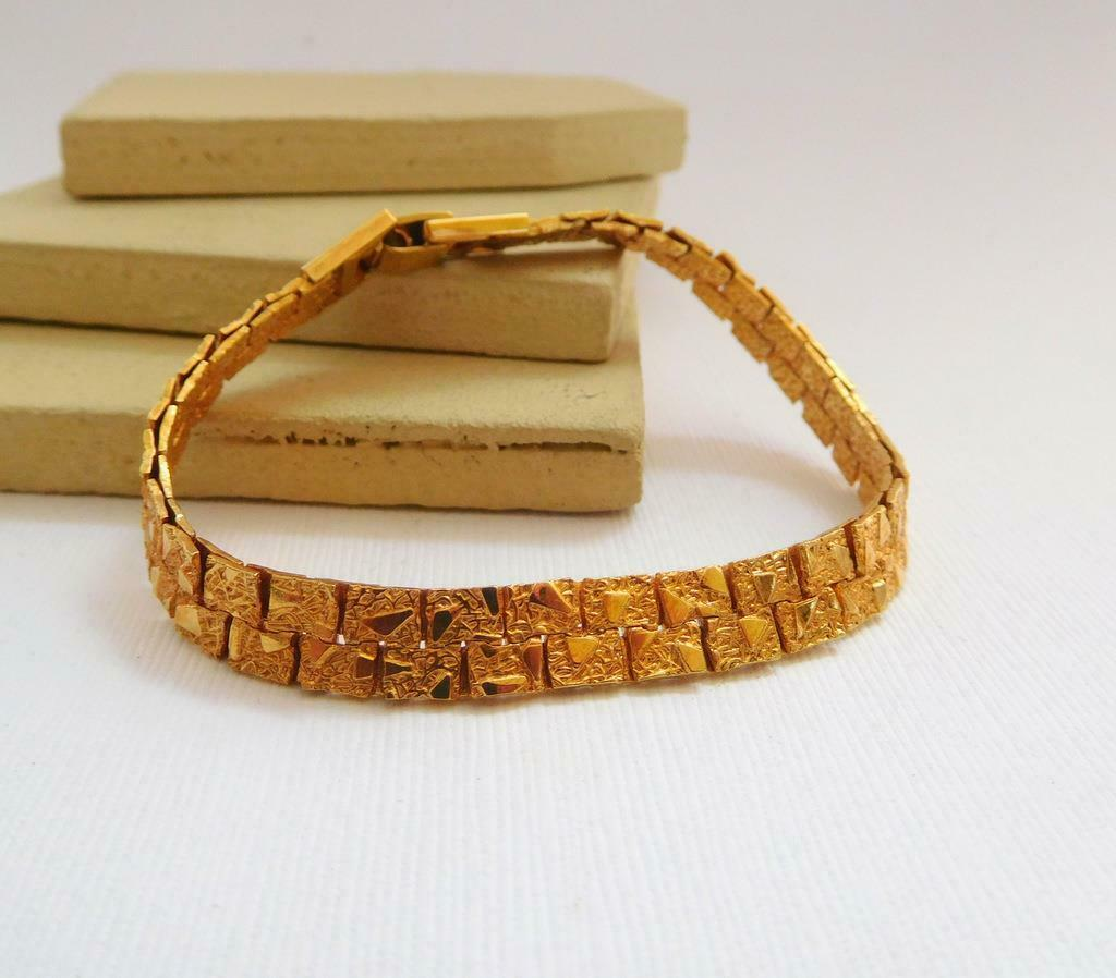 Retro Vintage Yellow Gold Tone Textured Nugget Link Bracelet X47