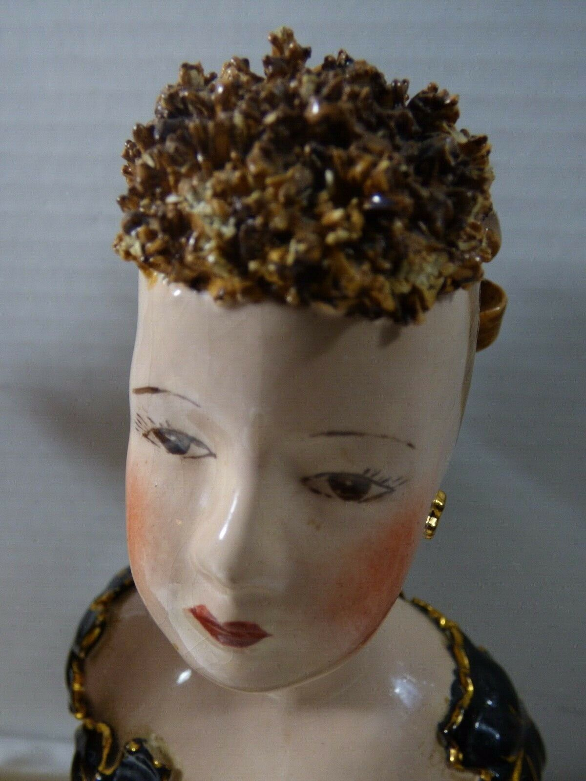 """VTG Set of 2 Women Lady Painted Plaster Bust Head Sculpture Statue 8"""" Tall"""