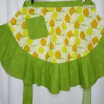 Half Apron Ruffle Pocket Oranges Lemons Baking Apron Retro 50s Style New - $39.55
