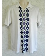 Men's Polo Greg Norman Golf Shirt The Shark Play Dry White Size Medium Polyester - $19.68