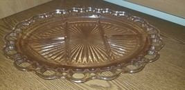 Oval Open Lace Old Colony Pink Glass Relish Dish Divided Tray 12.75 x 9.75 - $37.00