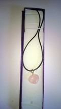 A beautiful Rose Quartz Gemstone Heart Shaped Pendant On A Cord Necklace - $8.98