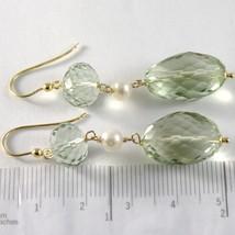 Pendientes Oro Amarillo 750 18K Colgantes 5 cm, Prasiolita Corte Cojín y Perlas image 2