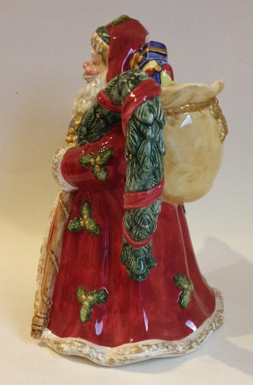 Santa Claus Porcelain Pitcher Christmas Tree Presents Red Green Vintage Holiday