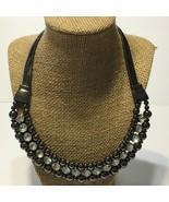 Hematite Beaded ribbon snake chain Rhinestone statement bib necklace 19-... - $14.96