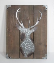 """18"""" Rustic Cabin Style Wood Wall Plaque with Distressed Tin Deer Head - $45.49"""