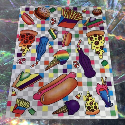 Lisa Frank 90s Complete Sticker Sheet S121 Junk Food Pizza Ice Cream Far Out