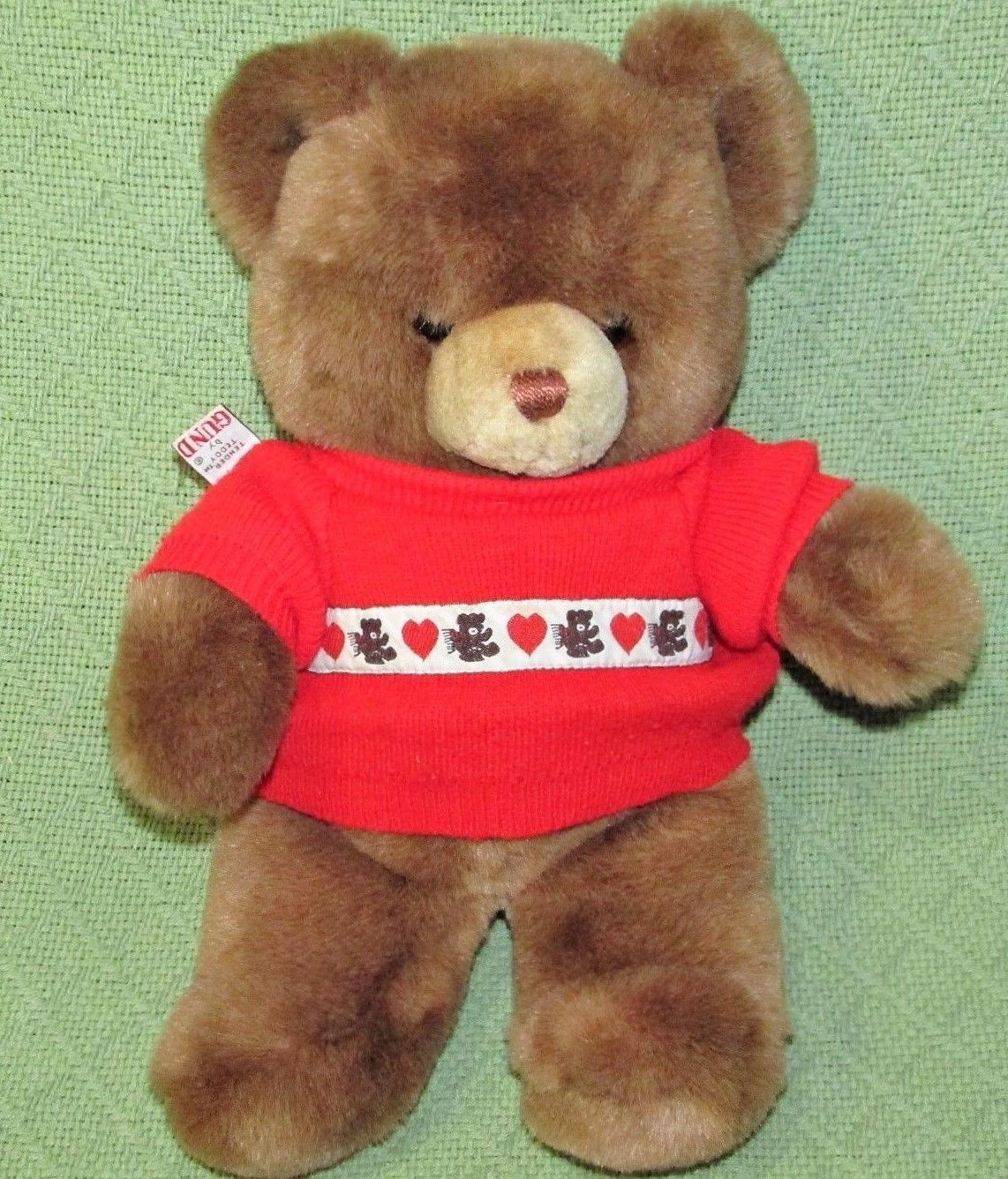 "Primary image for Gund KARITAS TENDER TEDDY 1983 13"" + RED KNIT SWEATER 1985 Brown Plush Stuffed"