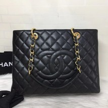 NEW AUTH CHANEL QUILTED CAVIAR GST GRAND SHOPPING TOTE BAG GOLD HW image 4