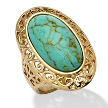 PalmBeach Jewelry Oval-Shape Turquoise 18k Gold-Plated Filigree Ring - $49.99