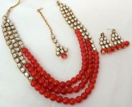 Indian Bollywood Red Gold Plated Kundan Fashion Bridal Jewelry Necklace Set 2 - $22.79