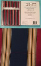 "Waverly Romeo Stripe 36"" Tier and Valance Set Blue Red - $19.98"