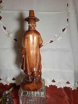 "Vintage Hand Carved Asian Man with Cane Wooden Statue 12"" Tall21 image 3"
