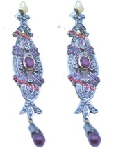 925 Sterling Silver Rose Cut Victorian Diamond Garnet & Ruby Dangle Earr... - $319.77