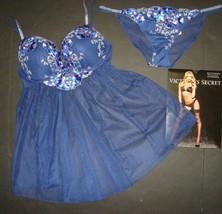 Nwt Victoria's Secret 34B, 34C Reggiseno Abito Babydoll Blu Argento Fior... - $72.72+