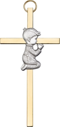 Primary image for Praying Boy - Wall Cross  -  Antique Silver & Polished Brass