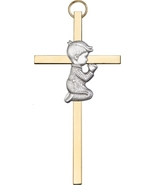 Praying Boy - Wall Cross  -  Antique Silver & Polished Brass - $40.99