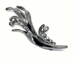 "Gunmetal Floral 3"" Brooch, Clear AB Rhinestones, Elegant, Formal, Date Night - $19.79"