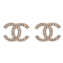 100% AUTH NEW CHANEL 2019 XL Large Gold CC Crystal Stud Earrings