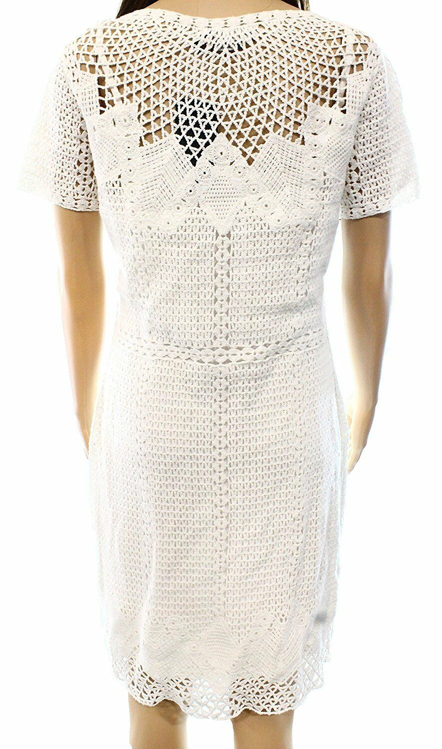 2302 LRL Ralph Lauren Womens White Crochet Short Sleeves Sheath Dress Sz XS $179