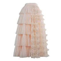Blush Midi Tulle Skirt Outfit Puffy Tiered Tulle Skirt Blush Pink Holiday Skirt image 1