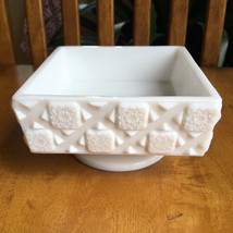 Westmoreland Milk Glass Old Quilt Pattern Compote Square Candy Dish VIntage - $7.92