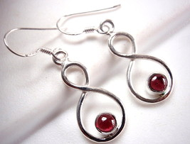 Garnet Infinity Earrings Symbol Expresses Forever Love 925 Sterling Silver New - $21.77