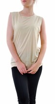 Sundry Women's Sleeveless T-shirt Round Neck Beige Size US 1 RRP $90 BCF68 - $41.17