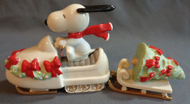 Lenox Fine China Snowmobiling with Snoopy Peanuts Snowmobile Christmas T... - $45.99