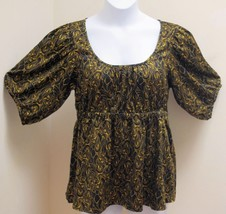 H&M 14 Top Black Gold Paisley Paisley Swirl Peasant Puffed Sleeves Shirt - $14.68