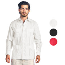 Men's Premium Cuban Beach Long Sleeve Button Up Linen Guayabera Dress Shirt