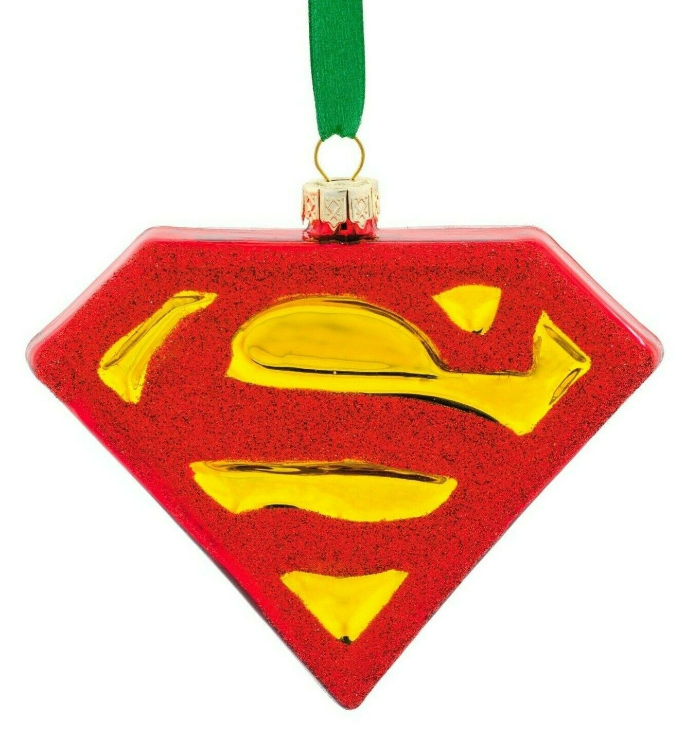 Hallmark DC Comics Superman Shield Blown Glass Christmas Tree Ornament New w Tag