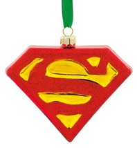 Hallmark DC Comics Superman Shield Blown Glass Christmas Tree Ornament New w Tag