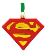 Hallmark DC Comics Superman Shield Blown Glass Christmas Tree Ornament N... - $9.00