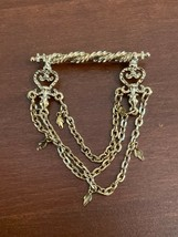 Vintage 1928 Gold Tone Victorian Scroll Swag Brooch Pin - $5.99