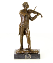Antique Home Decor Bronze Sculpture shows Violin Player, signed * Free S... - $199.00