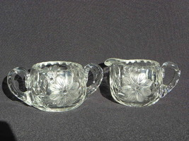 Pr Vintage Heavy, Thick-Walled Pres-Cut Glass Creamer and Sugar w/Flowers - $29.99