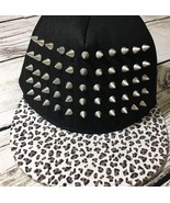 Spencers Metal Stud Flat Bill Hat Cap Hat Leopard Print Heavy Studded Bling - $12.57