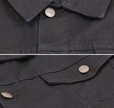 Men's Classic Button Up Casual Cotton Stretch Denim Biker Jean Jacket Vest image 7