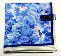 POLO Ralph Lauren Handkerchief hanky scarf bandana Blue White Flower Aut... - $23.76