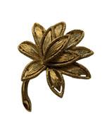 Vintage Avon Brushed Textured Gold Tone Floral Leaf Botanical Brooch Pin... - $12.99
