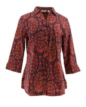 Liz Claiborne NY Paisley Printed Button Front Tunic Navy Multi 10 NEW A267257 - $27.70